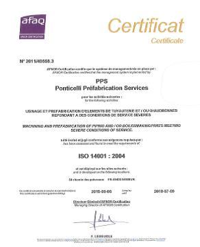 Certificat ISO 14001 PPS