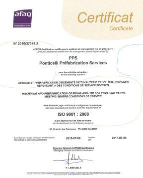 Certificat ISO 9001 PPS